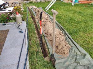 Graben für Wasserrohre