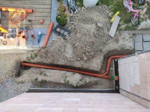 Entwässerungsrohre für Garagendach